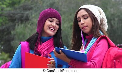 Friends College Students Cold Weather