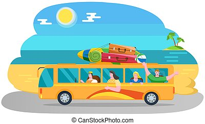 Car summer trip. Happy people on holidays. Traveler bus on background of beach landscape. Tourism around world concept. Friends come by truck on coastline near sea. Cartoon characters going on tour