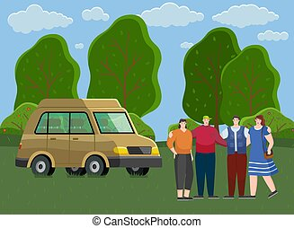 Friends come by truck to forest. People rest and spend time together outdoors. Travel by car. Cartoon characters breathe fresh air and relax in meadow. Hikers or tourist in forest vector illustration