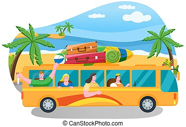 Car summer trip vector illustration. Happy people on holidays. Traveler bus on background of coastline. Tourism around world concept. Friends come by truck to summer resort. Characters going on tour