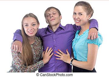friends, drei, umarmen, glücklich