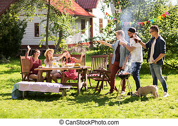 friends drinking beer at summer barbecue party - leisure,...