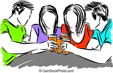friends drinking beer vector illustration