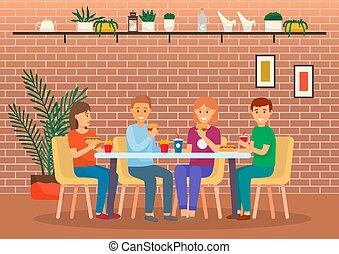 Friends Eat Food in Cafe, Spending Time Together
