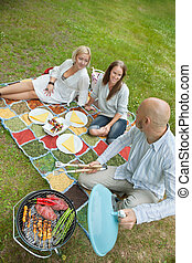 Friends Eating Food At An Outdoor Picnic - High angle view...