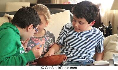 Friends eating potato chip