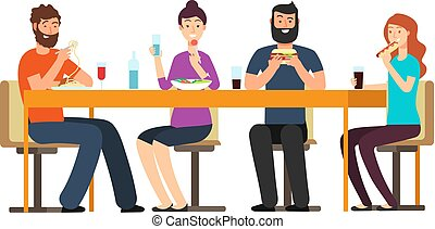 Friends eating snacks. Friendly people group have dinner at desk in restaurant. Cartoon vector characters isolated on white background