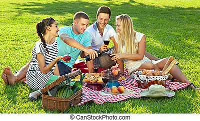 Group of four young friends enjoying a healthy picnic sitting outdoors on a red and white checked rug on green grass drinking red wine and eating a variety of fresh fruit and bread