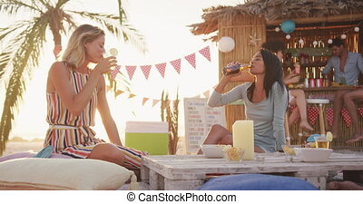Friends enjoying a party on the beach