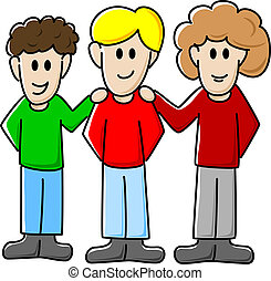 friends - vector illustration of three cartoon friends