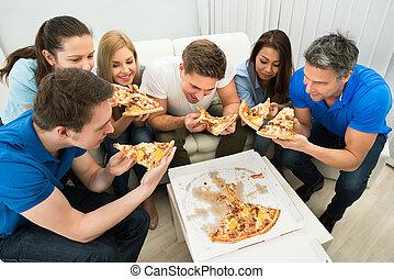 friends, essen pizza