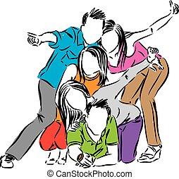 friends, feier, Gruppe, abbildung, glücklich