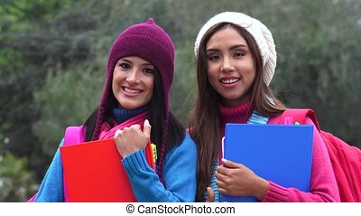 Friends Female College Students Cold Weather