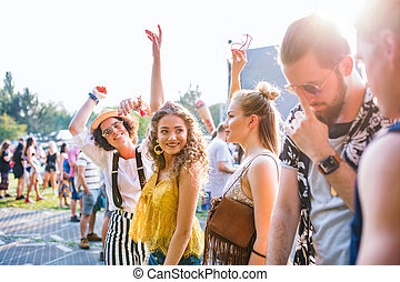 friends, festival., sommer, tanzen, junger, gruppe