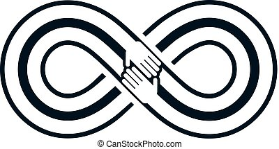 Friends Forever, everlasting friendship, beautiful vector logo combined with two symbols of eternity loop and human hands.