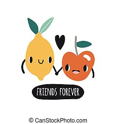 Friends forever. Print with lemon and apple