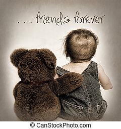 Friends Forever -Teddy n Baby - Teddy bear has his arm ...