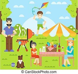 friends, freundschaft, draußen, familie, ißt, leute, zusammen, glücklich, spaß, begriff, illustration.