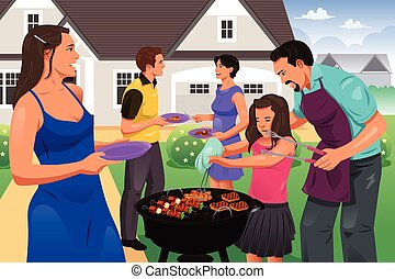 Friends Gather for BBQ Party