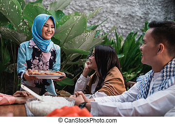 friends gathering enjoy the iftar meal - friends gathering...