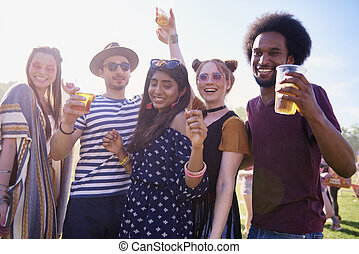 friends, glücklich, fest, musik