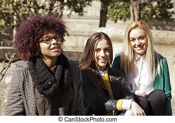friends group of girls on the street
