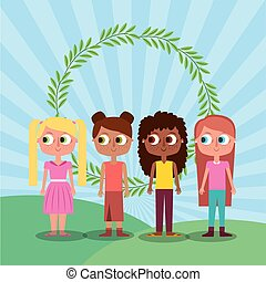 friends happy girl teen characters and floral wreath