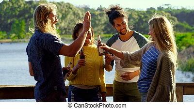 Friends having fun in cabin 4k - Friends having fun in cabin...