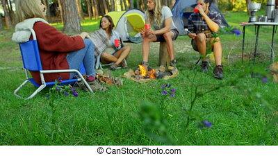 Friends having fun near bonfire in the forest 4k - Friends ...