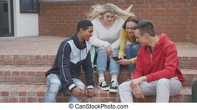 Friends having fun together outside