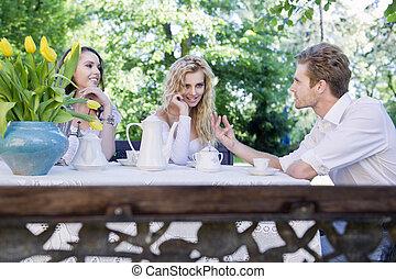 Friends having lunch break