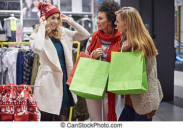 Friends helping with Christmas shopping