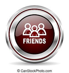 friends icon chrome border round web button silver metallic pushbutton