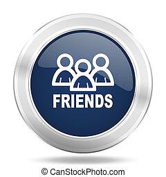 friends icon, dark blue round metallic internet button, web and mobile app illustration