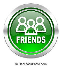 friends icon, green button