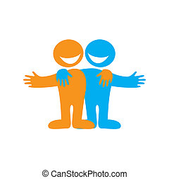 Friends - Icon Happy friends. Symbol of friendship. Vector...