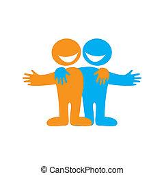 Friends - Icon Happy friends. Symbol of friendship. Vector...