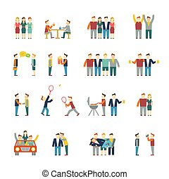 Friends icons flat - Friends and friendly relationship...