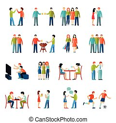 Friends Icons Flat Set - Friends relationship people society...