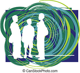 Friends illustration - Abstract Sketch of teenagers made in ...