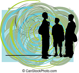 Friends illustration - Abstract Sketch of teenagers made in...