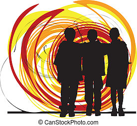 Friends illustration - Abstract drawing of teenagers made in...