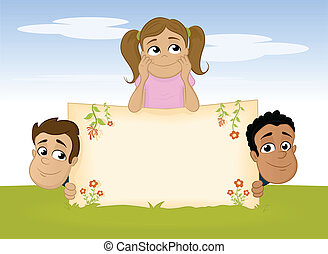 Friends - Multiracial children with blank board vector...