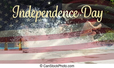 Friends in a pool and the American flag with Independence day text for 4th of July.