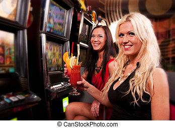 friends, in, kasino, auf, a, automat