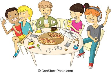 Friends in pizzeria - Vector illustration with friends ...