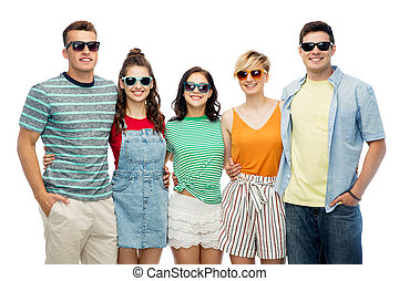 friends in sunglasses over white background