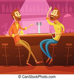 Friends In The Bar Illustration