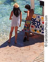 Friends in the Baska beach, Croatia