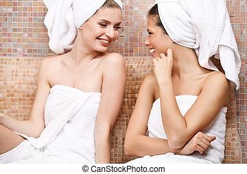 Friends in Turkish sauna - Two attractive girl friends in...